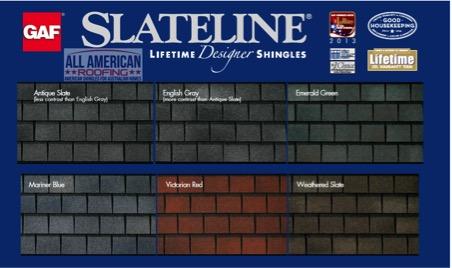 Roof shingle colour choices